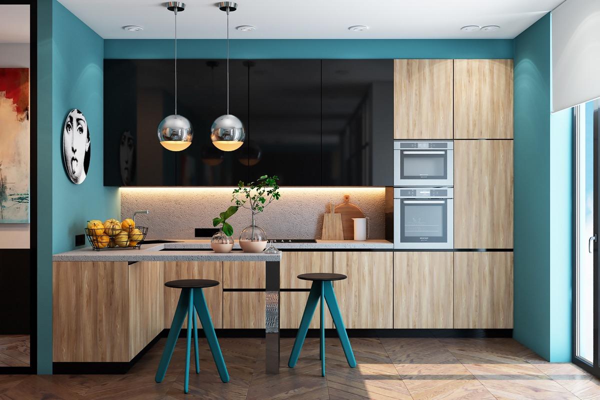 phòng bếp màu xanh dương