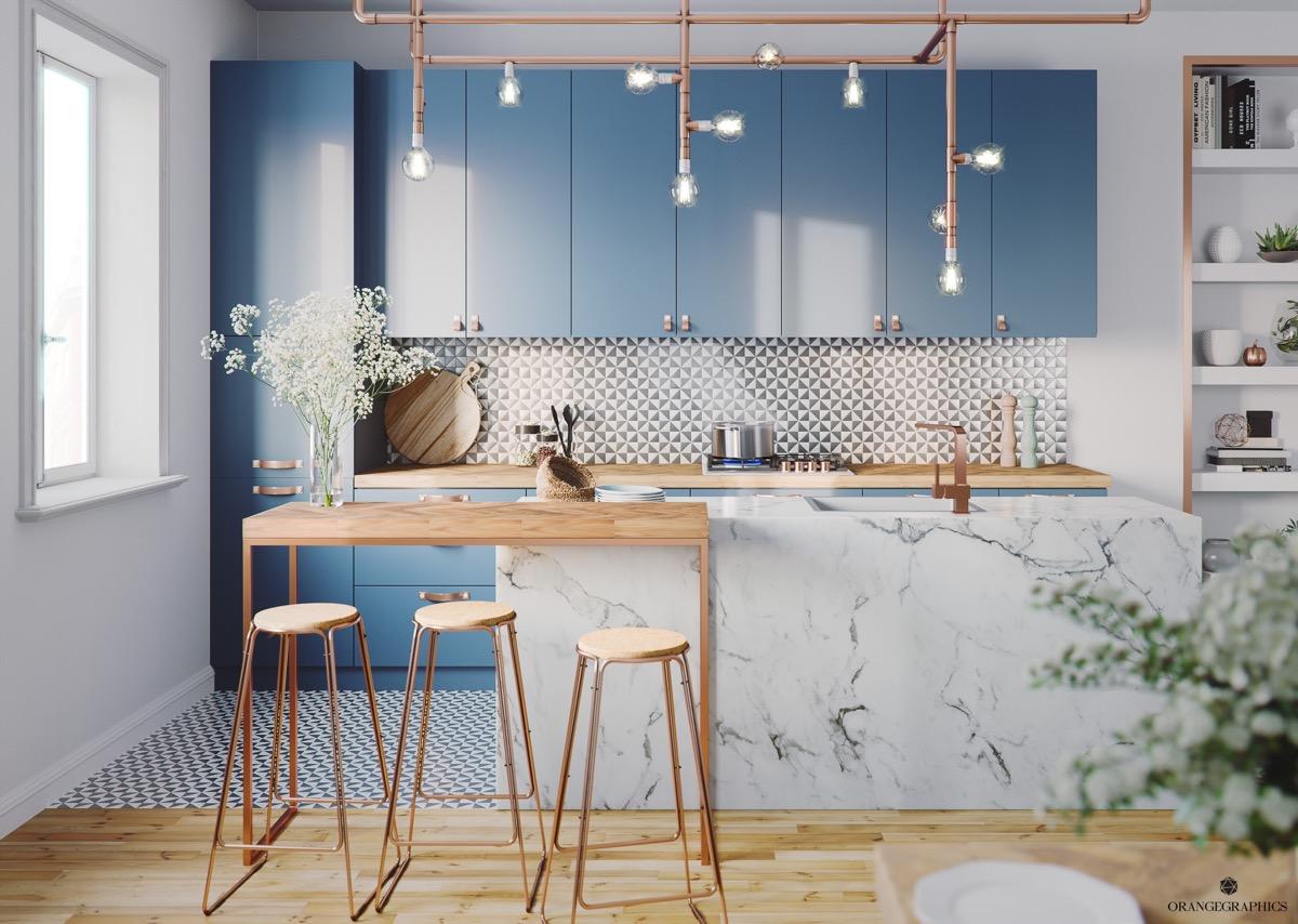 Thiết kế phòng bếp màu xanh dương