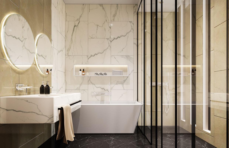 nội thất nhà tắm tân cổ điển với màu trắng