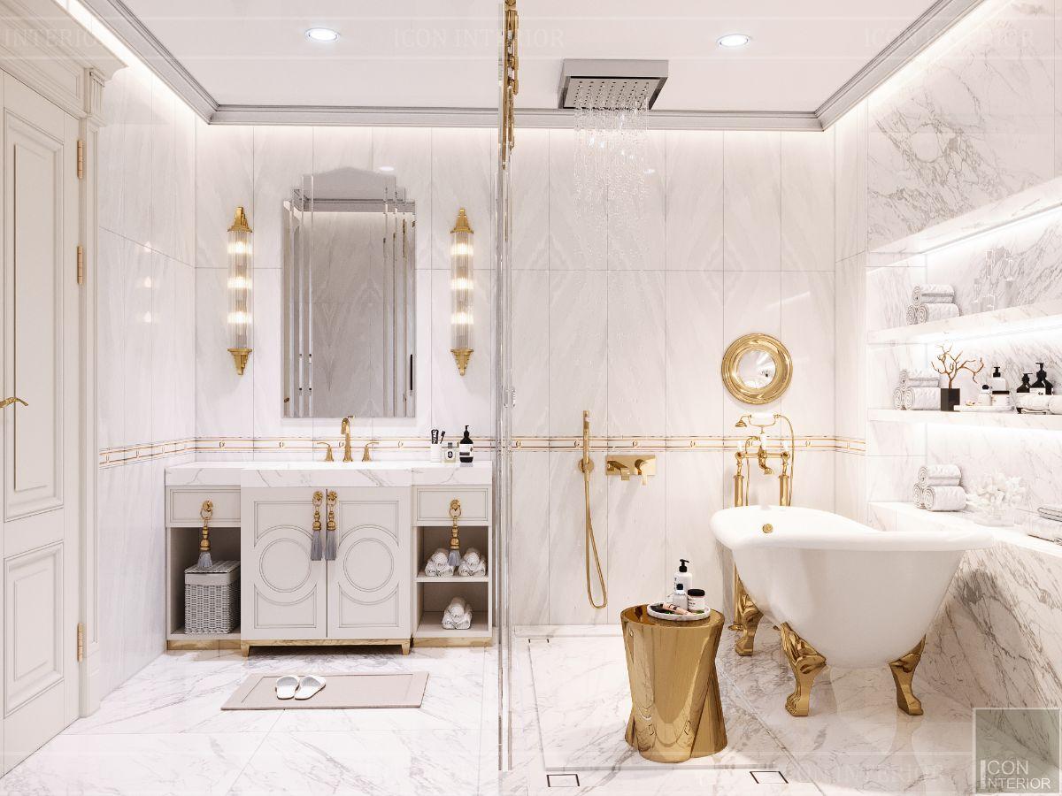 nội thất nhà tắm phong cách tân cổ điển màu trắng đẹp