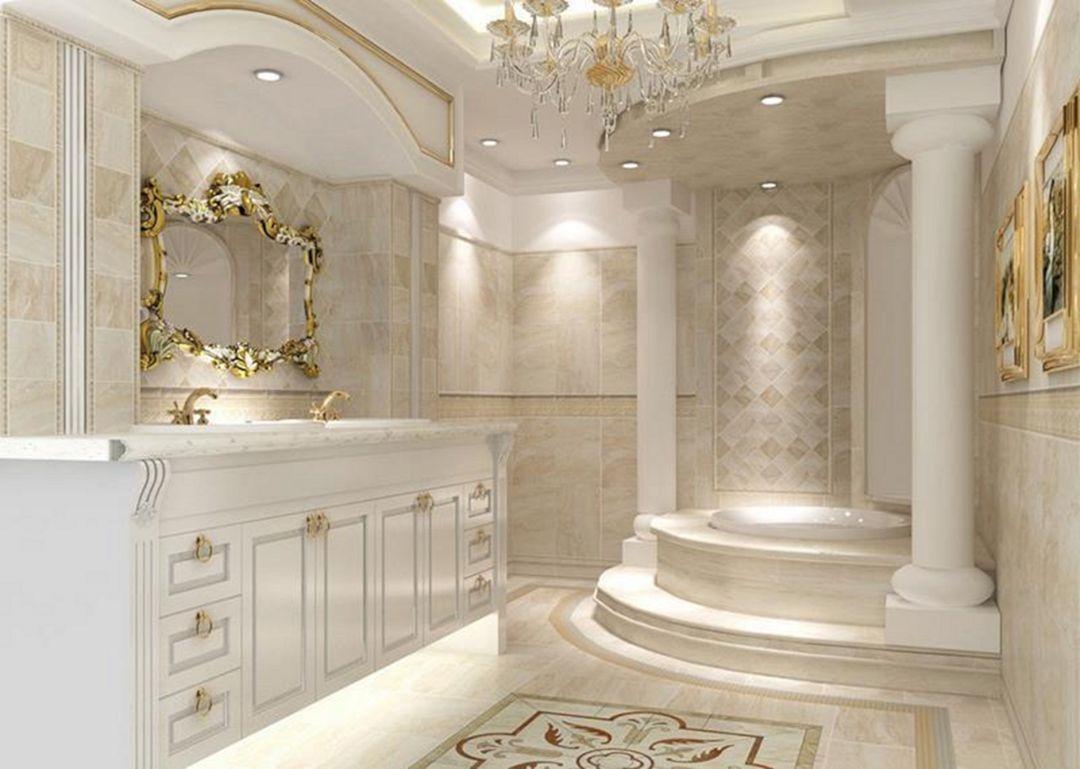 nội thất tân cổ điển màu trắng cho phòng tắm