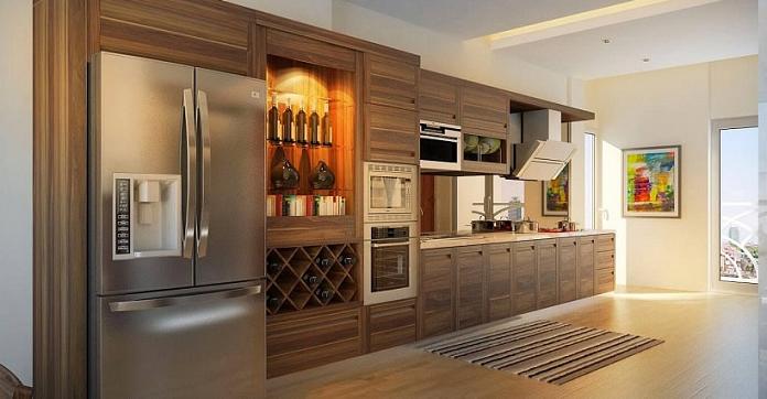 thiết kế tủ âm tường nhà bếp