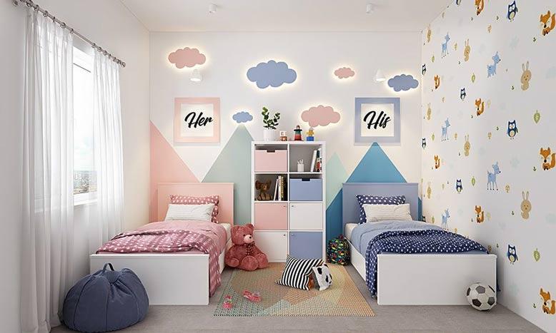 Bố trí giường ngủ song song cho trẻ em khác giới
