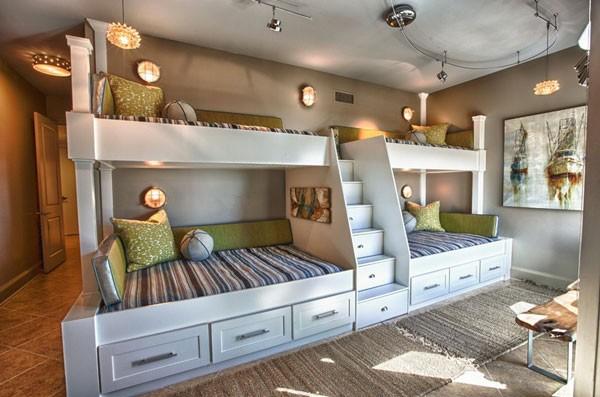 Thiết kế giường tầng ấn tượngcho gia đình đông con