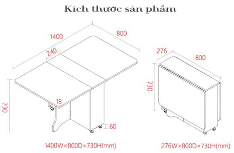 kích thước bàn ăn thông minh