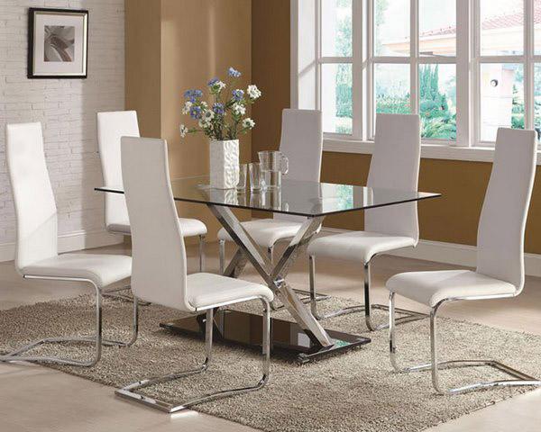 bàn ghế ăn cho gia đình bằng mặt kính