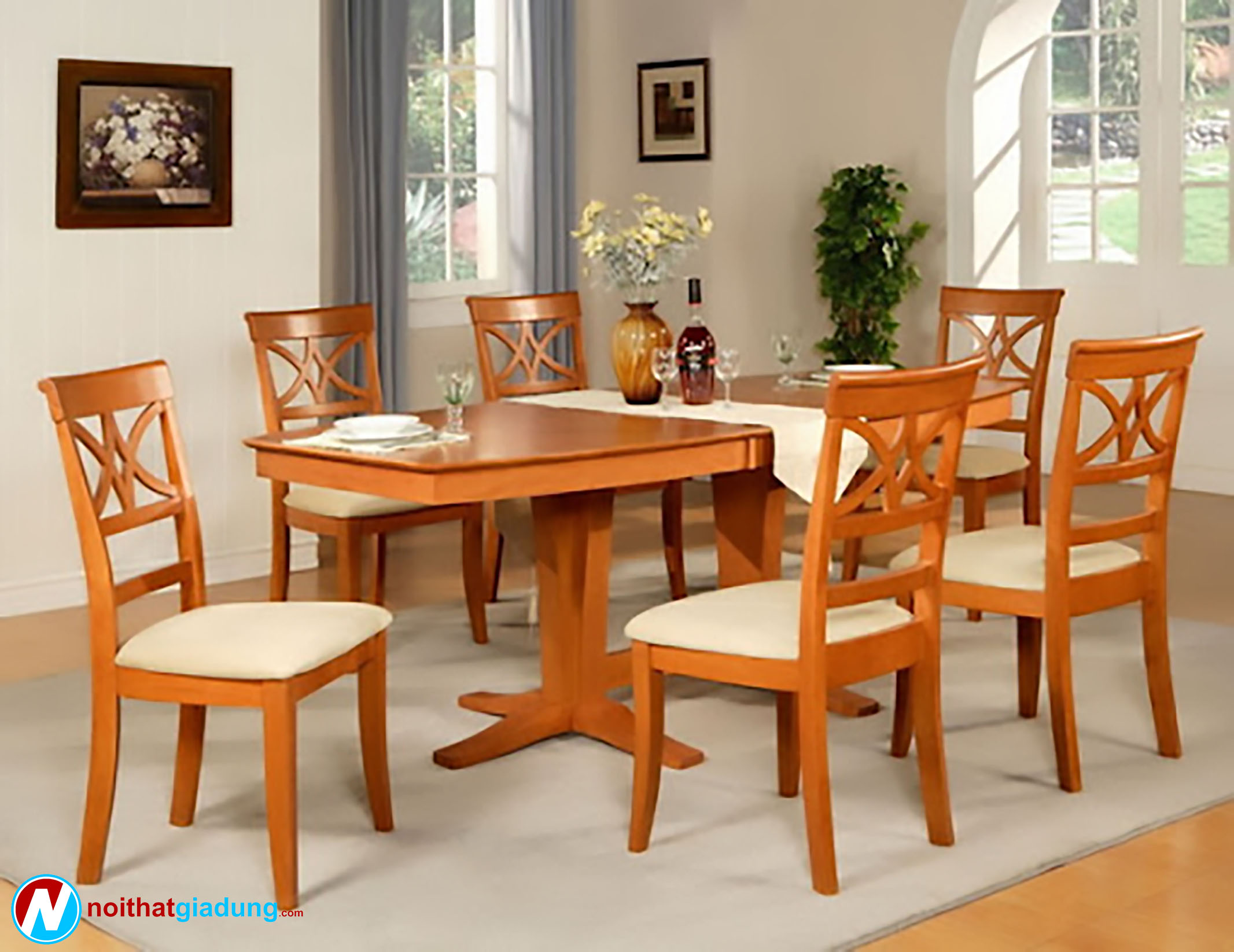 bộ bàn ăn gỗ truyền thống