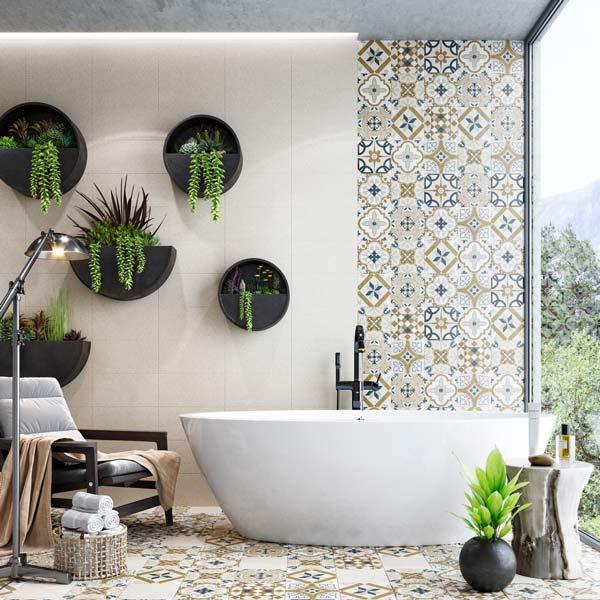 Cây cảnh treo tường độc đáo phòng tắm