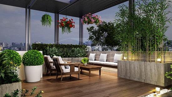 thiết kế khu vườn sân thượng đẹp mắt