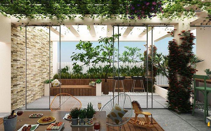 thiết kế khu vườn sân thượng đẹp