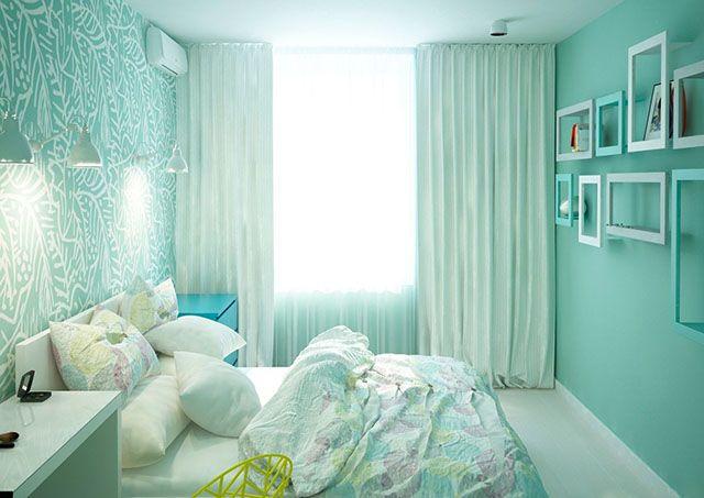 giấy dán tường phòng ngủ màu xanh