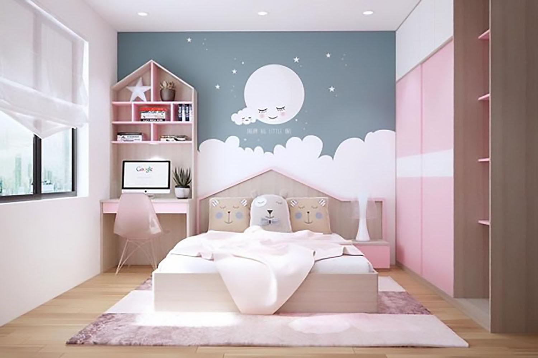giáy dán tường phòng ngủ bé gái