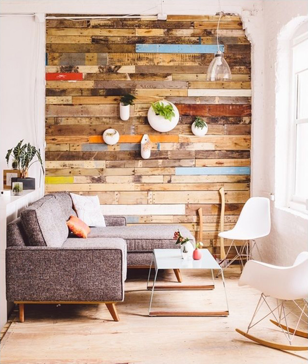 Ốp gỗ Pallet trang trí tường