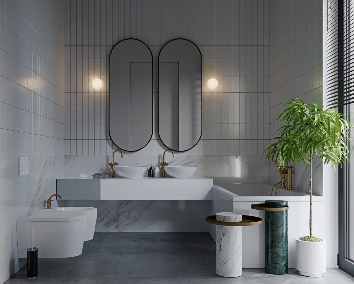 gương treo tường trang trí nhà tắm hiện đại