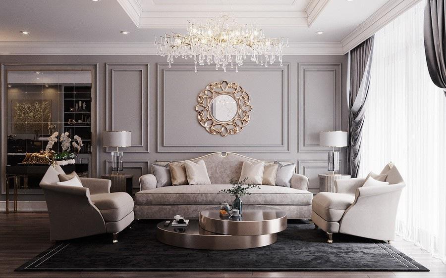 Gương trang trí chuẩn phong thuỷ phòng khách