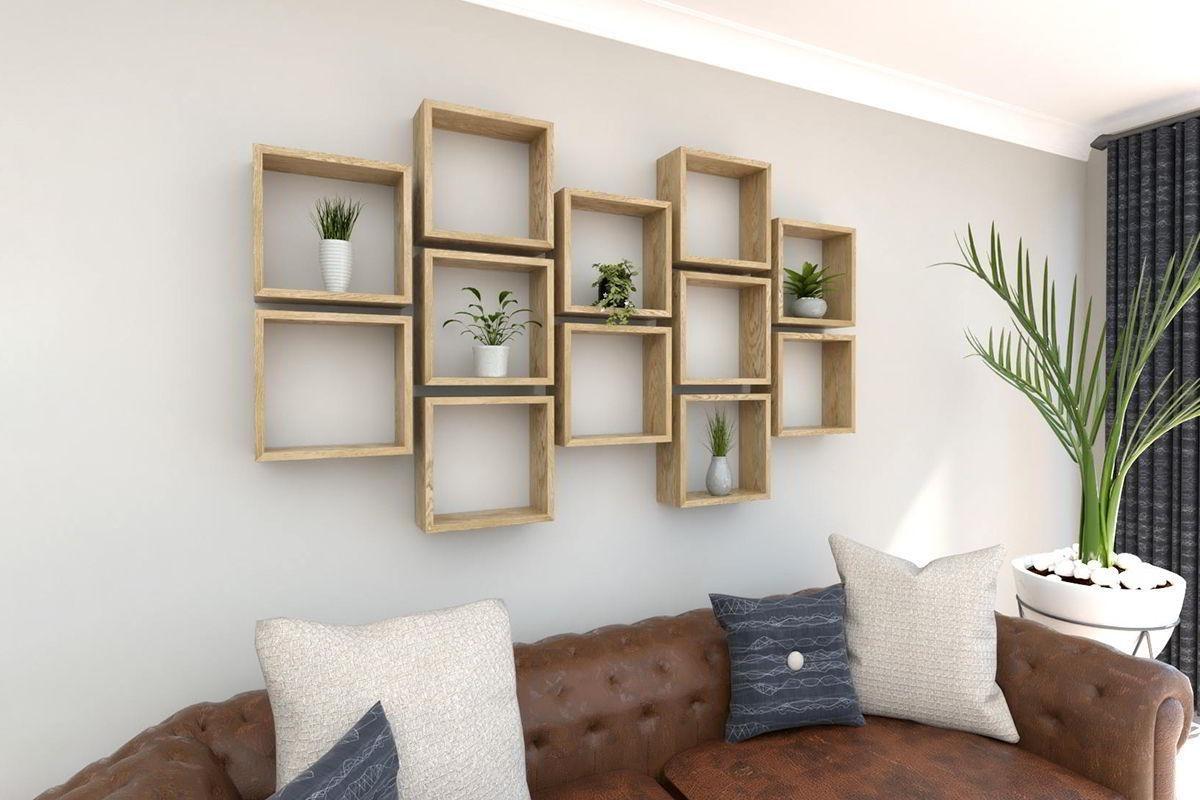 Kệ trang trí bằng gỗ hình ô vuông
