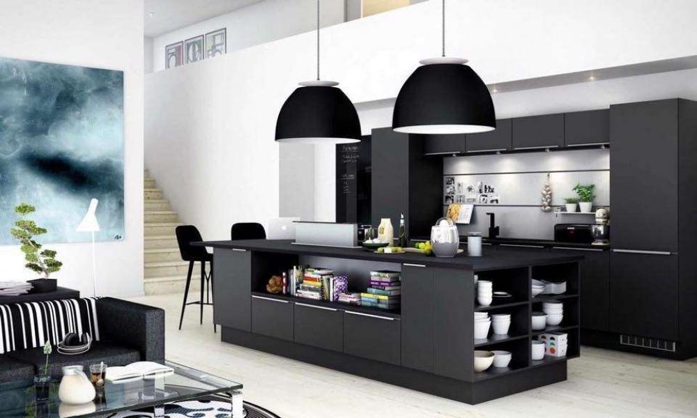 phòng bếp màu đen hiện đại