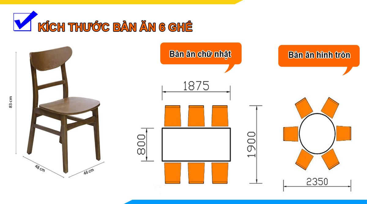 kích thước bàn ghế ăn cho gia đình