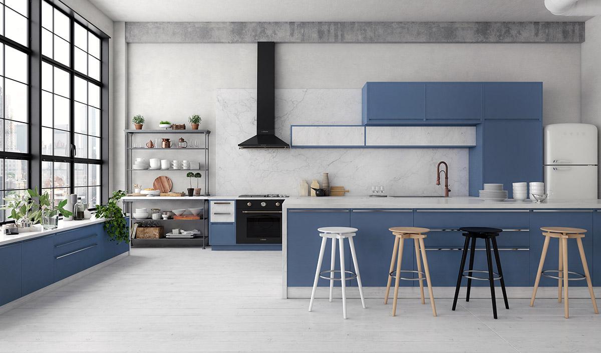 phòng bếp đẹp vớigam màu xanh dương