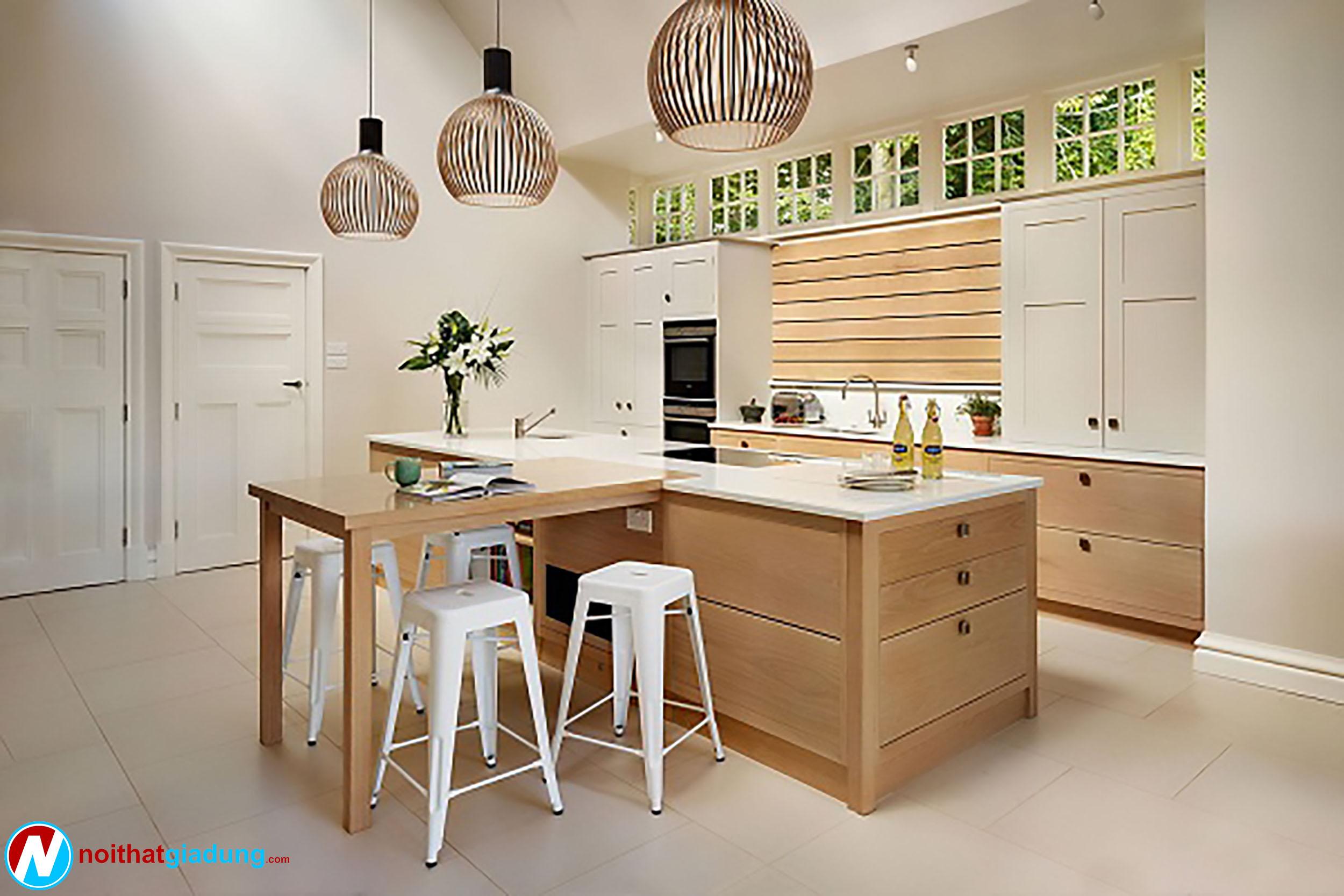 mẫu đảo bếp chất liệu bằng gỗ