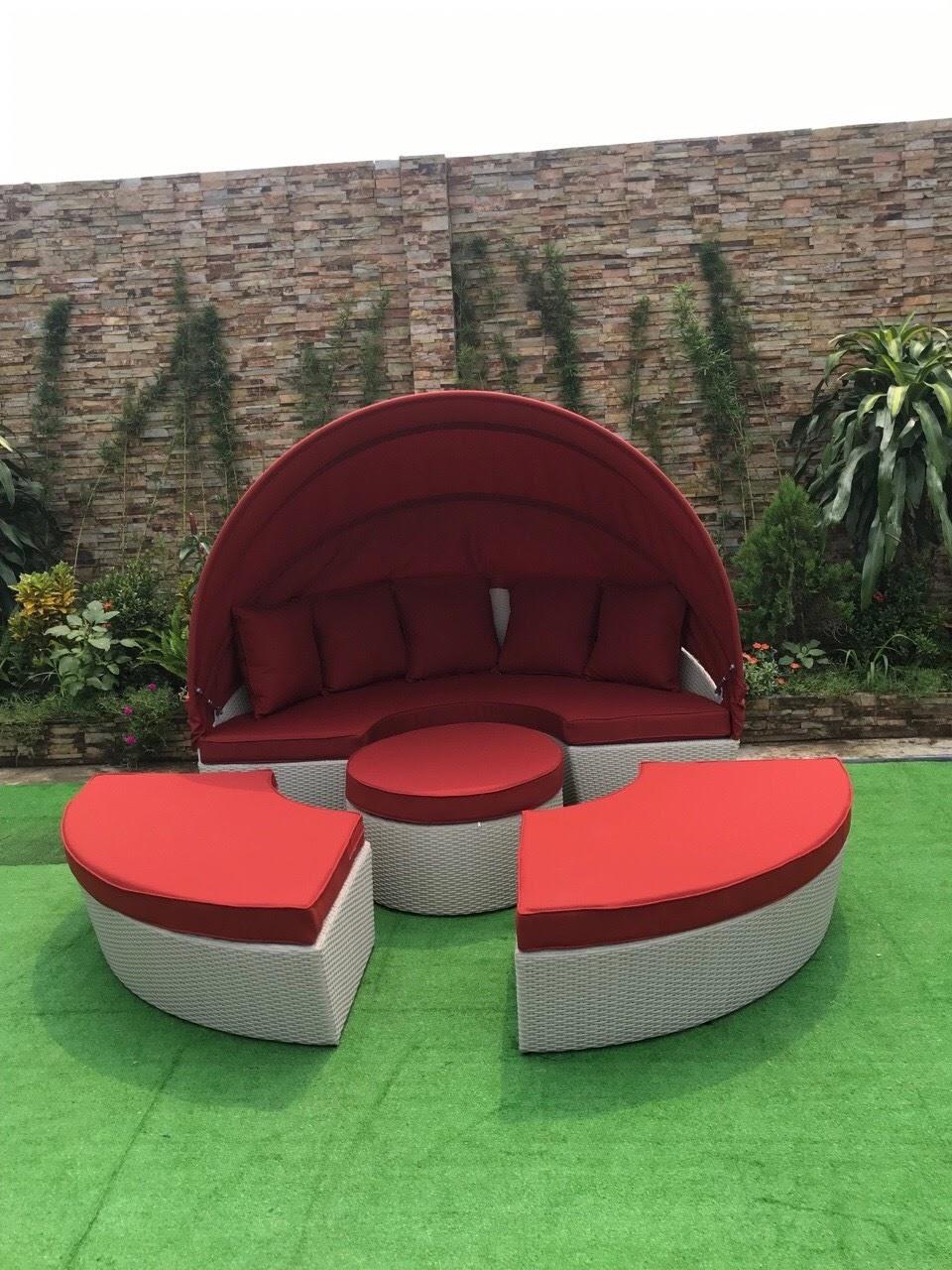 mẫu ghế mây thiết kế mái vòm