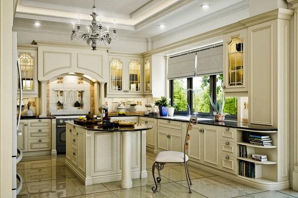 phòng bếp nổi bật với gam màu trắng