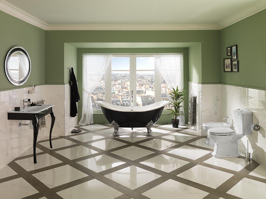 nội thất nhà tắm tân cổ điển có sàn nhà đẹp
