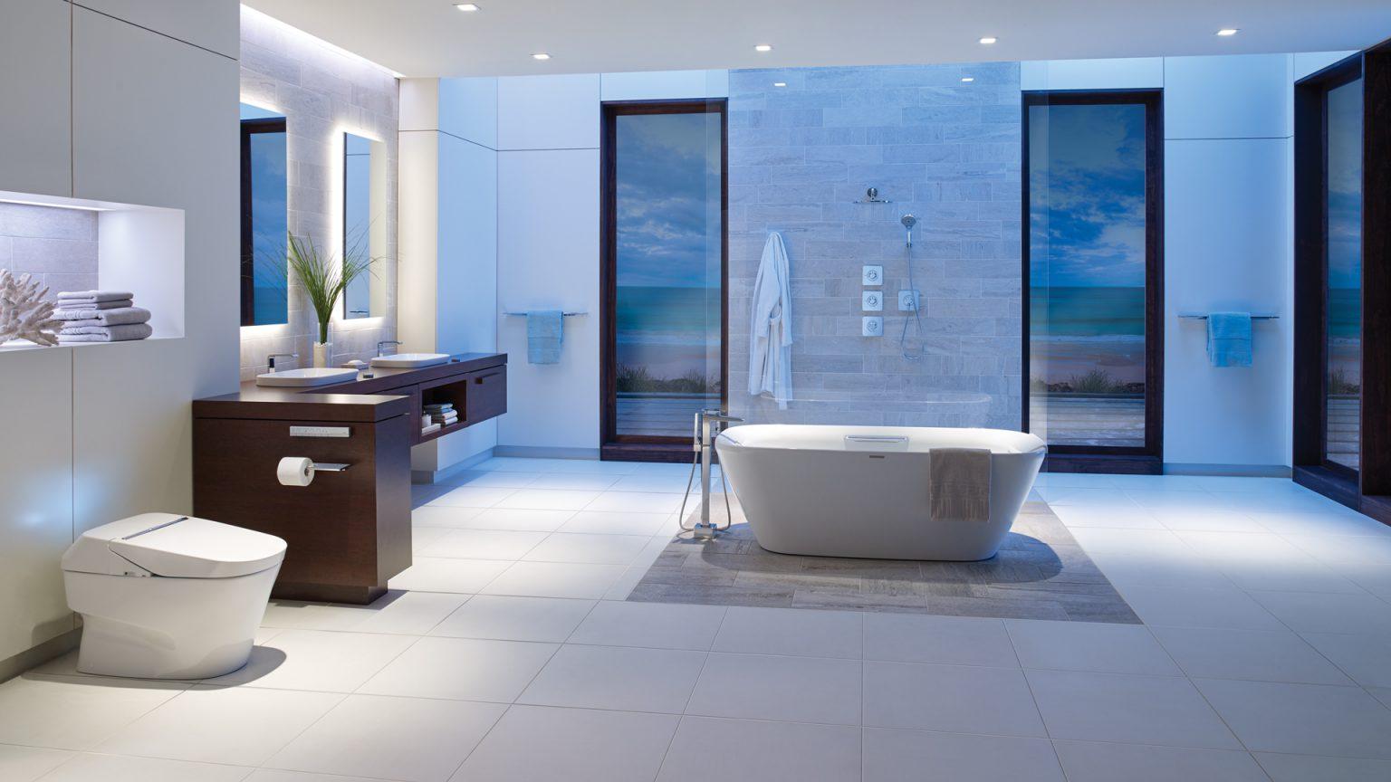 thiết kế vách tường trong nội thất nhà tắm tân cổ điển