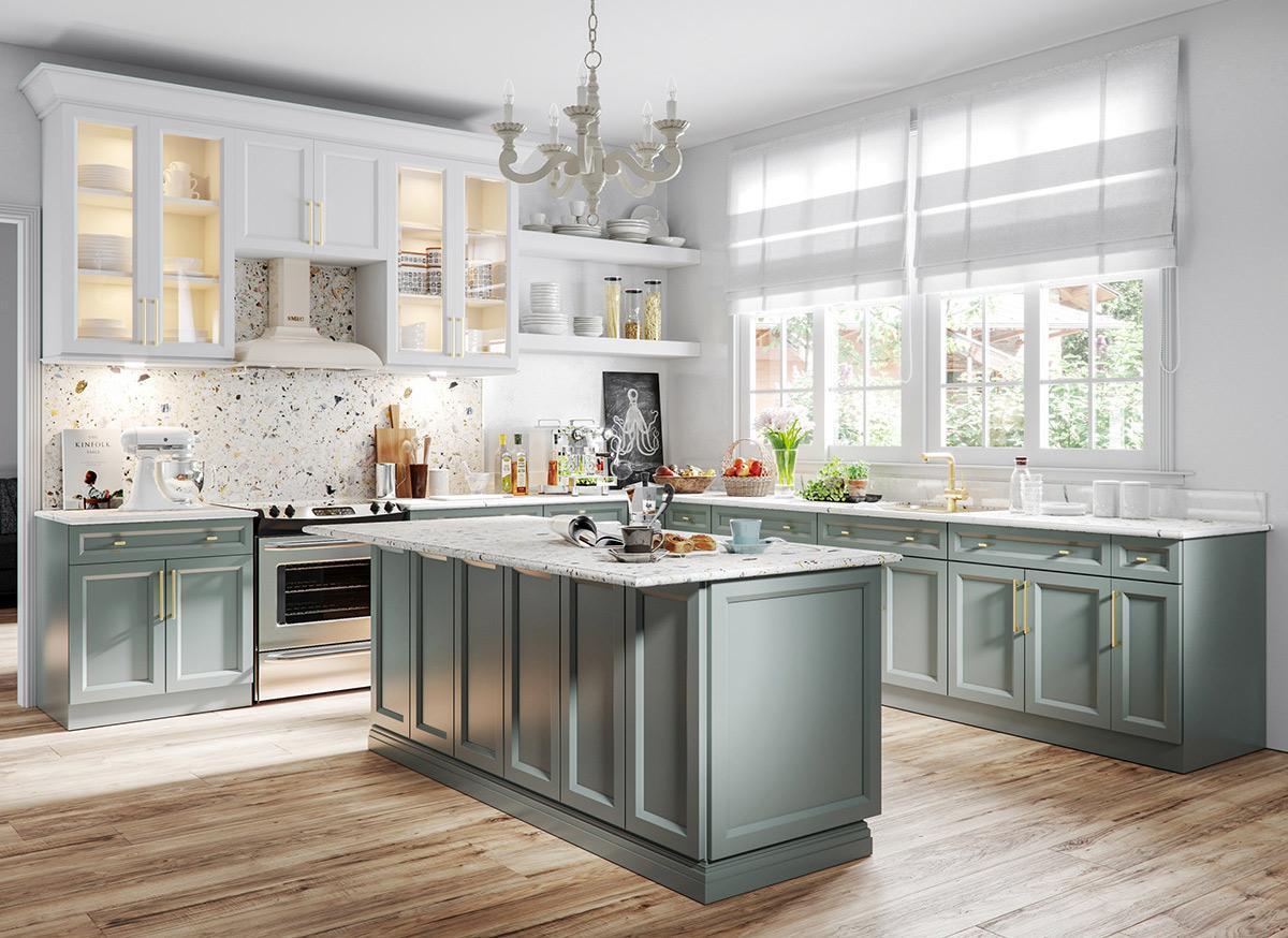 nhà bếp với gam màu xanh nhẹ nhàng