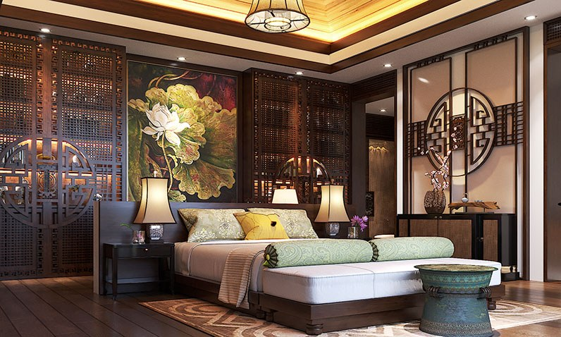 nội thất phòng ngủ vớigỗ tự nhiên