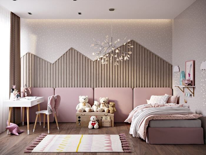 phòng ngủ bé gái hồng pastel