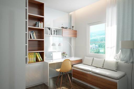 phòng làm việc hiện đại cạnh cửa sổ