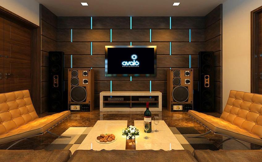 phòng giải trí gia đình với dàn âm thanh hiện đại