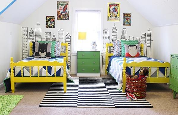 phòng ngủ cho bé trai sinh đôi 3