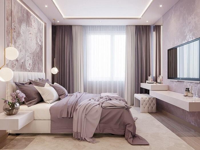 phòng ngủ màu hồng tím đẹp mê ly