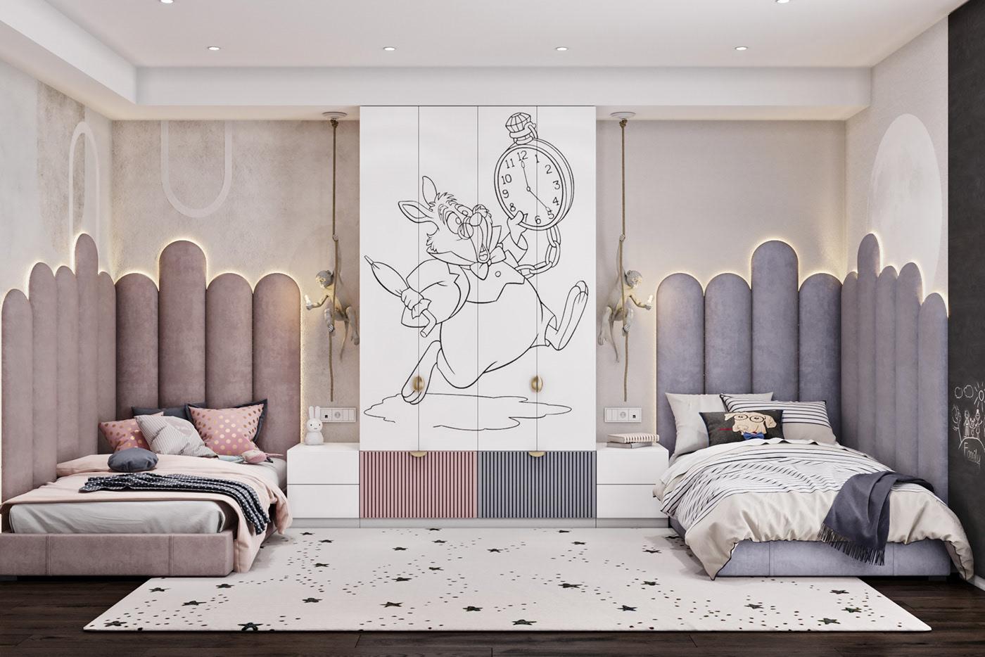 phòng ngủ cho trẻ màu pastel