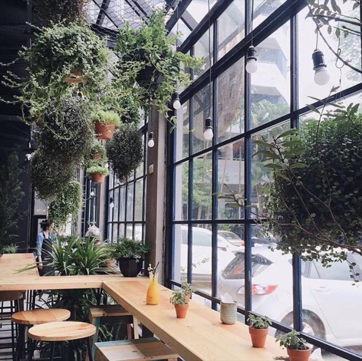 Quán cafe với thiết kế cửa kính