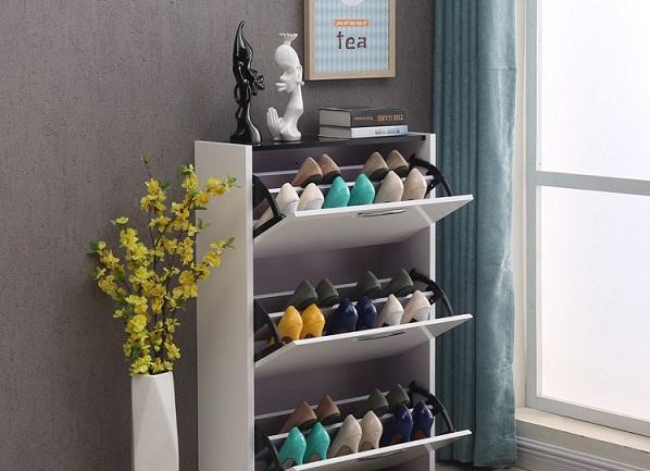 Tủ giày rẻ đẹp màu trắng hiện đại