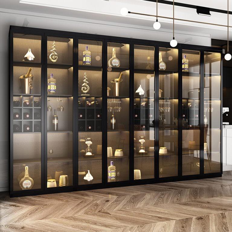 Tủ rượu nhôm kính với thiết kế đẹp mắt