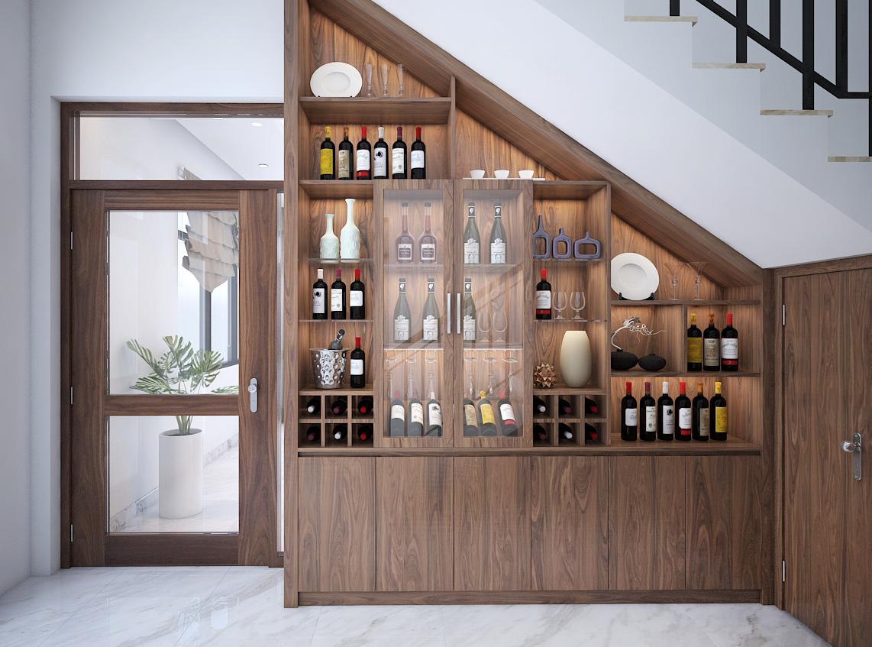 Tủ rượu gầm cầu thang độc đáo