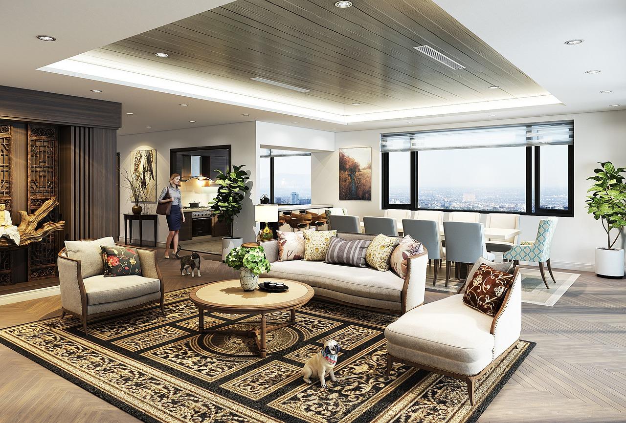 thảm trải sàn cho phòng khách rộng