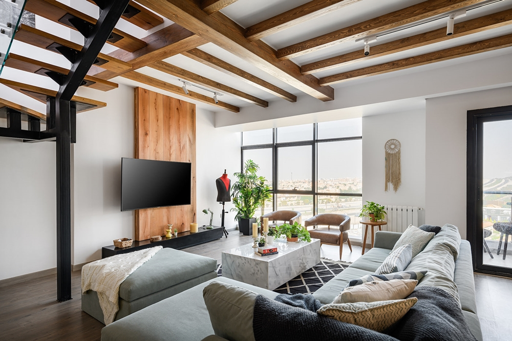 thiết kế nội thất phòng khách căn hộ Duplex đẹp