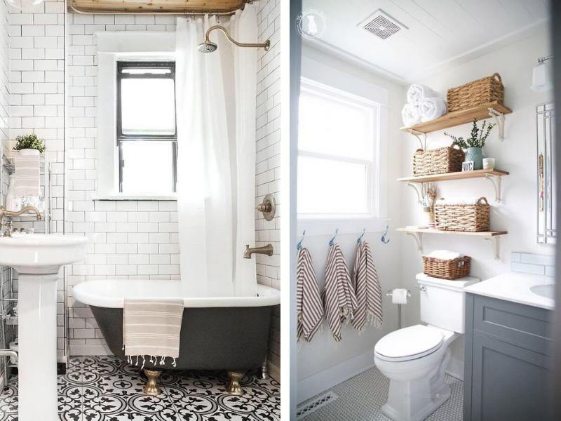 thiết kế nhà tắm và nhà vệ sinh riêng biệt phong cách retro vintage