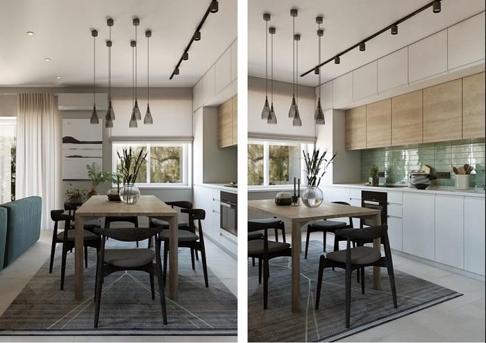 thiết kế nội thất phòng bếp căn hộ Duplex
