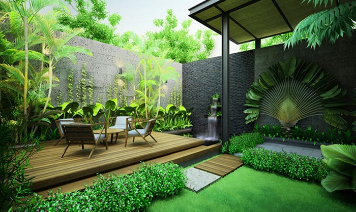thiết kế sân vườn phía sau nhà