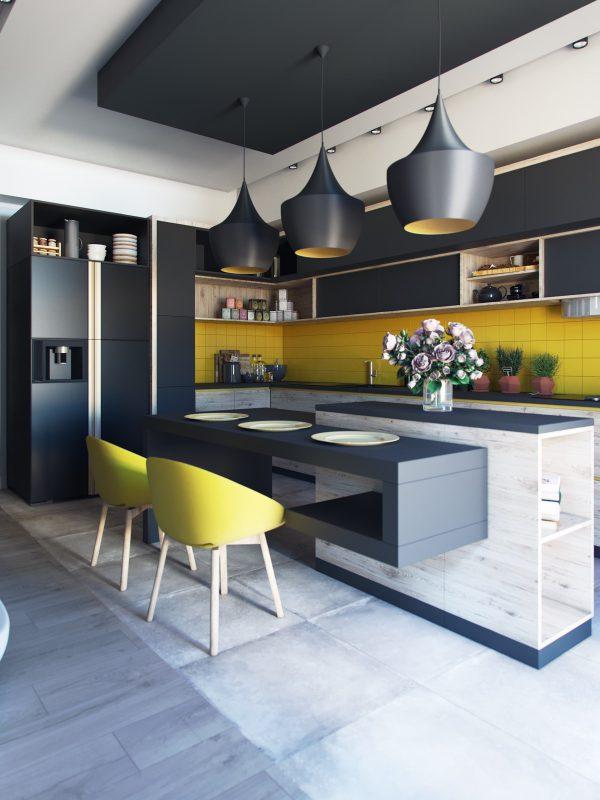 trang trí nội thất phòng bếp với đảo bếp hiện đại