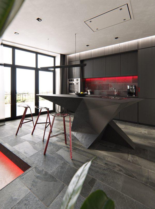 trang trí phòng bếp hiện đại với đảo bếp