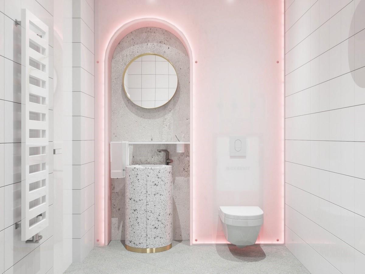 trang trí nội thất phòng tắm màu hồng