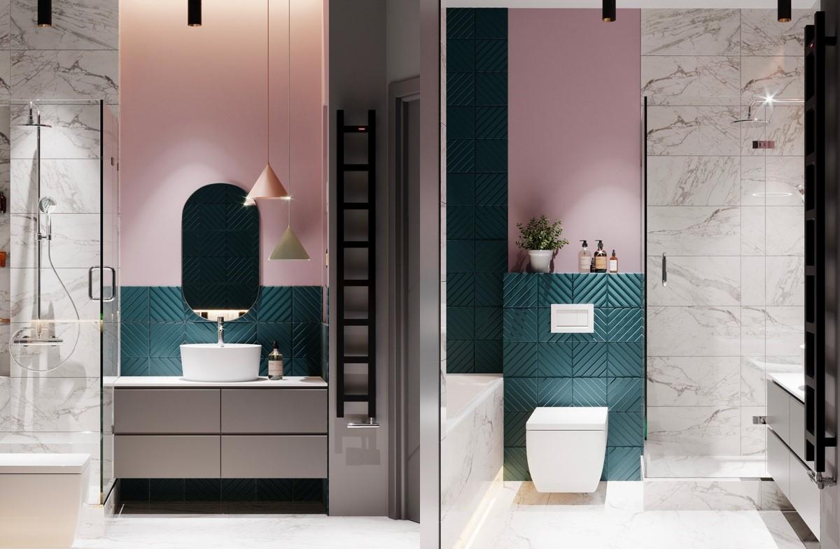 nội thất phòng tắm màu hồng cho bánh bèo