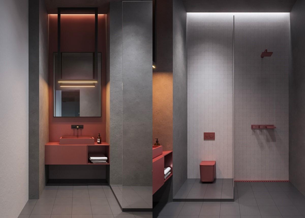 nội thất phòng tắm màu hông cho bánh bèo